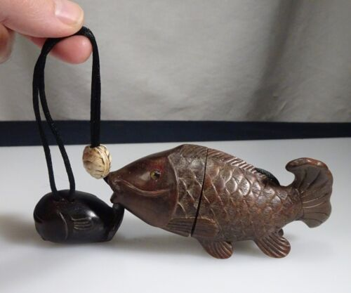 Vintage Japanese Fish Inro with Carved Wood Whale Netsuke & Ojime - 56368