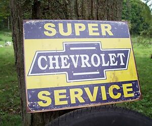 Super-Chevy-Service-TIN-SIGN-vtg-rustic-garage-dealer-shop-metal-wall-decor-1355