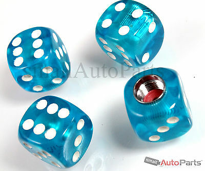 4 Clear Blue Gem Dice Tire/Wheel Stem Air Valve CAPS set for car/truck/hotrod