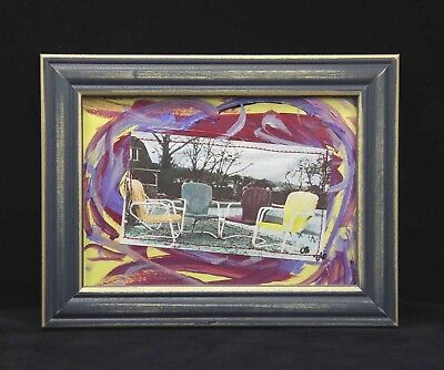 """Chairs Poolside"" Mixed Media 7X5 framed original art by Char Busse"