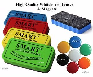 Magnetic Whiteboard Dry Wipe Eraser Rubber Cleaner & 2 Magnets for School Office