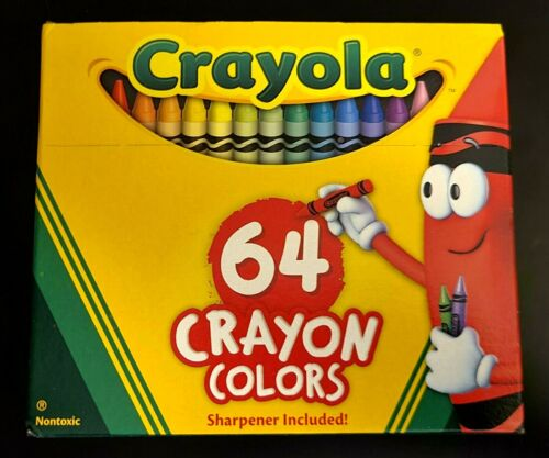 Crayola Crayons 64-CT Assorted Colors Sharpener Included Non-Toxic SAME-DAY SHIP