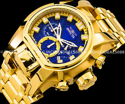 Invicta Men Bolt Zeus Magnum Chronograph Blue Dial 18Kt Gold Bracelet 52mm Watch