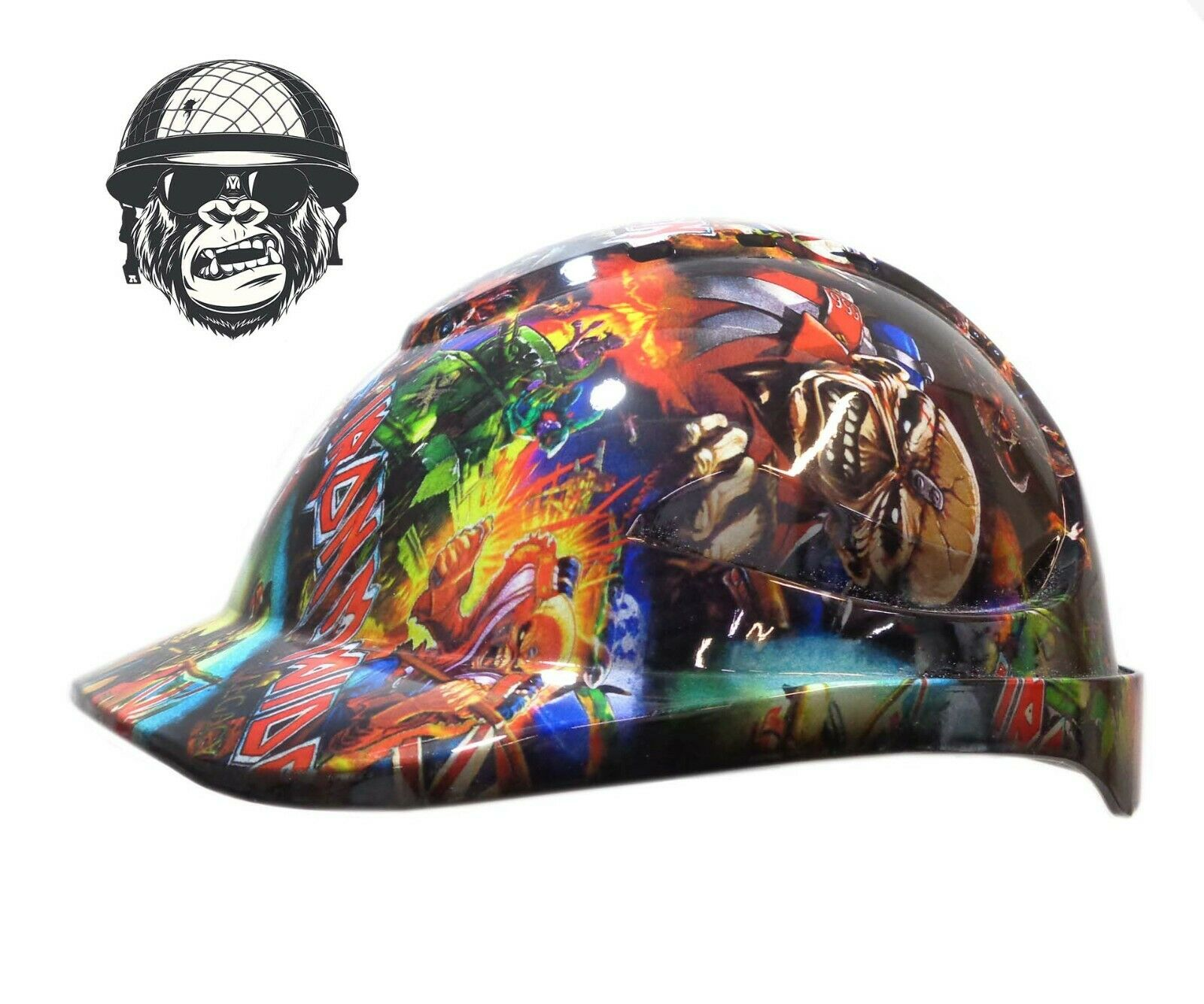 Custom Hydrographic Safety Hard Hat Mining Industrial PPE - IRON MAIDEN CAP