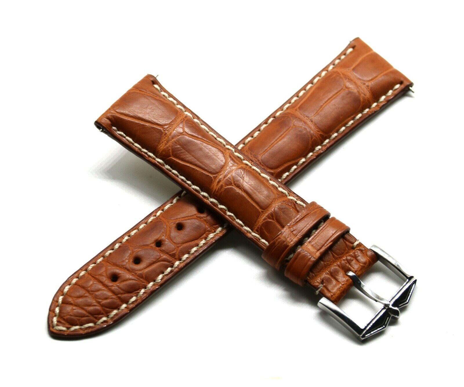 Rotary 21 mm Uhrenarmband aus echtem Alligatorenleder Braun