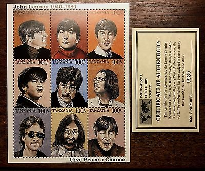 JOHN LENNON CAREER / THE BEATLES LIMITED TANZANIA 9 PC STAMP SHEET & COA  (A)