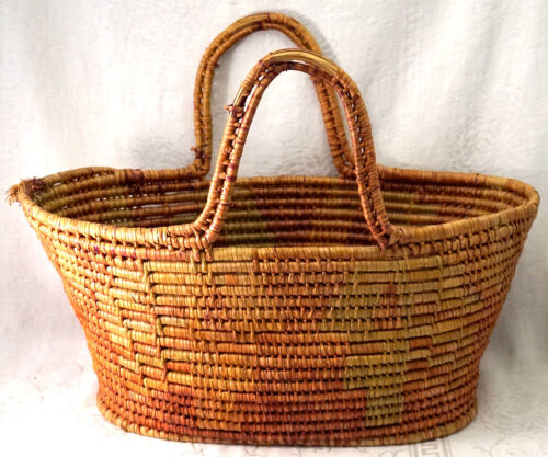Native American Basket with Handles form Northwest Estate Great Colored Pattern