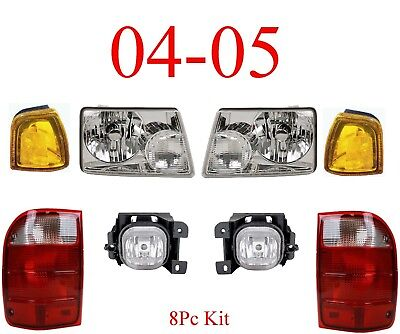 04 05 Ford Ranger 8Pc Head, Park, Fog & Tail Light Kit, Complete Assemblies