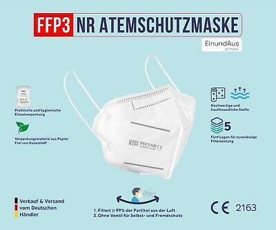 FFP3 Atemschutzmaske CE 2163 EU zertifizierte Maske Mundschutz