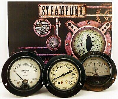 Vintage 3 Panel Meters Great Steampunk Stuff