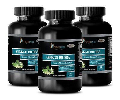 Ginkgo Biloba Extract 120mg - Brain Boost, Memory, Sharpen Focus - 3 Bottles