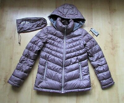 KENNETH COLE REACTION DUSKY PINK DOWN FEATHER PUFFA QUILTED JACKET SIZE S 10 12