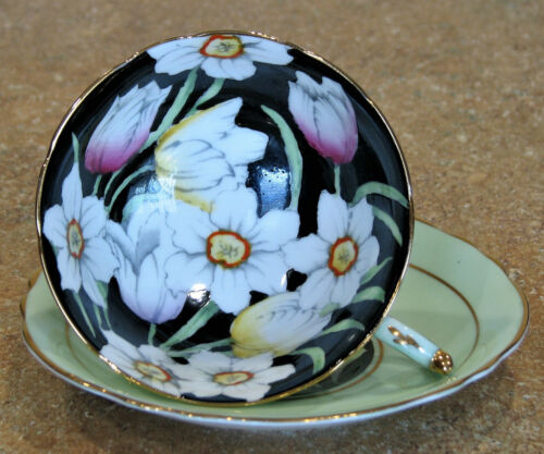 PARAGON CUP & SAUCER SET – TULIPS AND DAFFODILS – BLACK INTERIOR