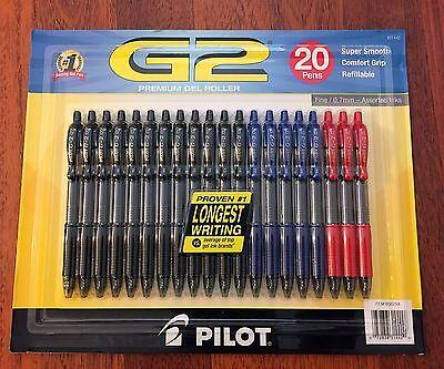 Pilot G2 Premium Gel Roller Ink Fine Point 0.7mm Pens Black Blue Red - 20 Pack