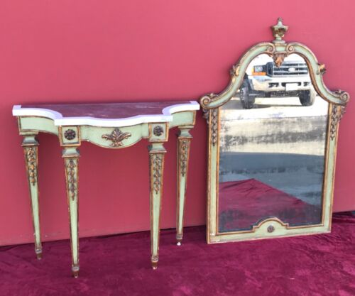 Antique Parcel Gilt Green Painted Console Entry Table + Mirror marble 18th Cent