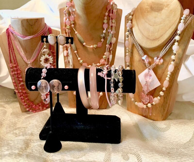 SHADES of PINK Mixed Jewelry Lot-VTG-Now-Necklaces-Bracelets-Earrings-Beads- a92