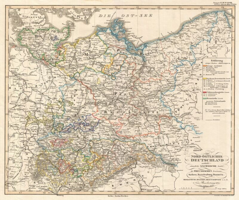 1852 Perthes Map of Northeast Germany and Prussia