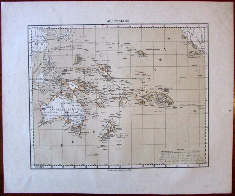 Oceania Australia New Zealand c.1864 Flemming German Flinders Land map