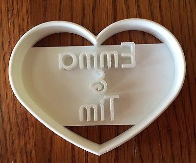 Personalized Wedding or Valentine's Day cookie cutter with names - US -