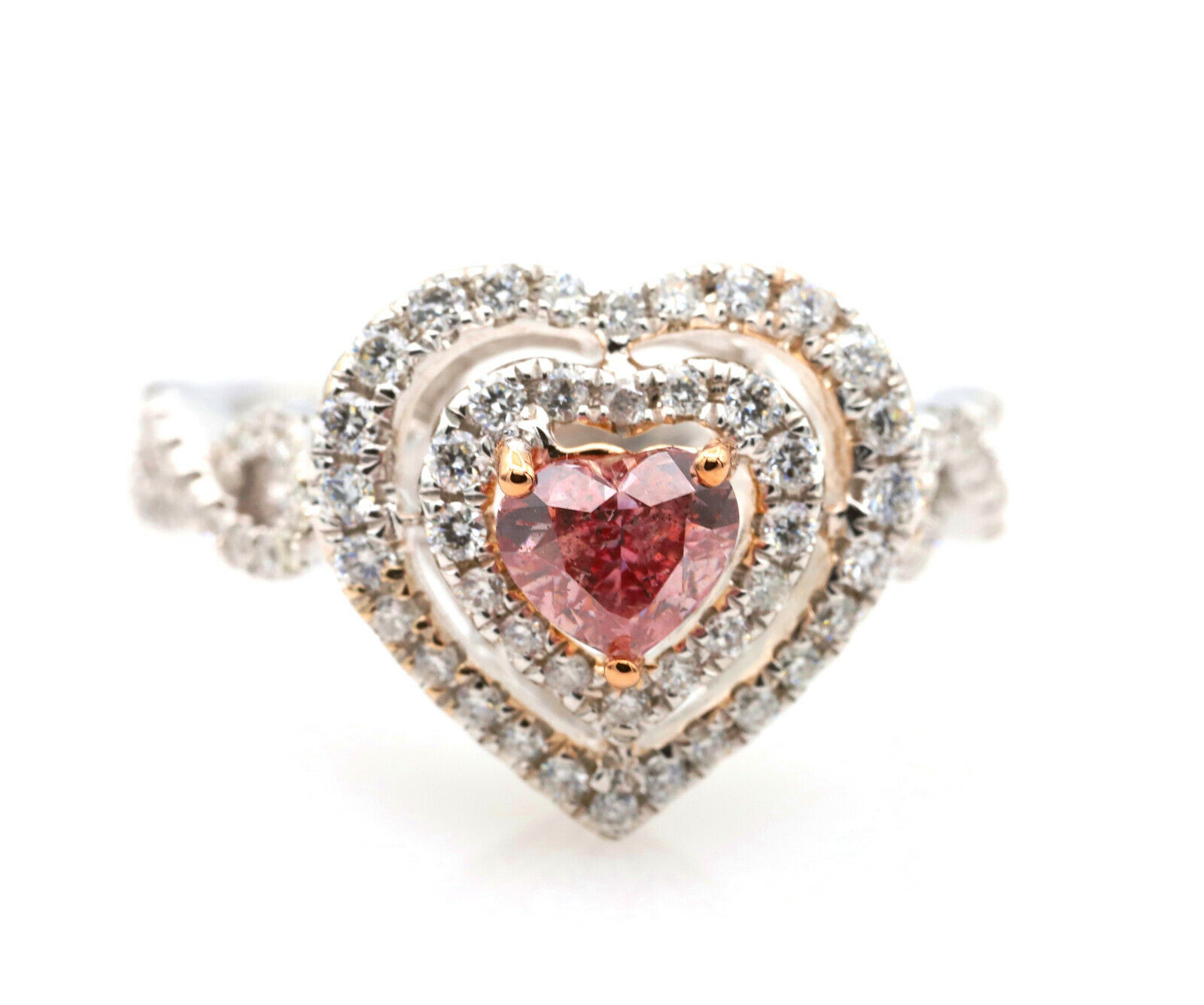 Argyle 1.07ct Natural Fancy Deep Pink Diamond Engagement Ring GIA 18K White Gold