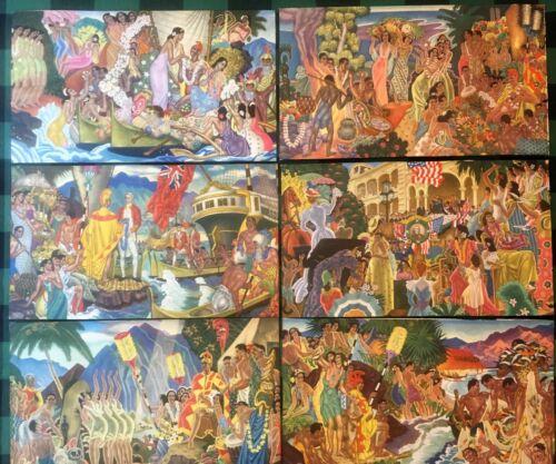HAWAIIAN ART Matson Murals Eugene Savage 1948-1956 Lithograph Prints not menus