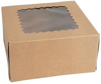 Kraft Bakery Box 6 Length X 6 Width X 3 Height Auto-popup Window - 15 Pieces