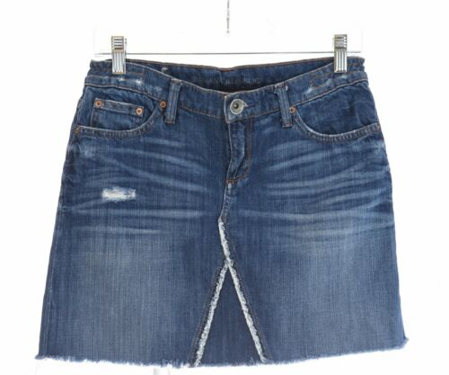 Banana Republic Distressed Cutoff Raw Hem Denim Mini Skirt Blue Jean Fray Sz 26