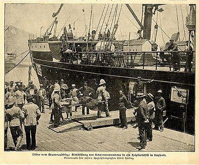 Kapstadt Einschiffung von Schwerverwundeten ins Hospitalschiff Bilddokument 1900