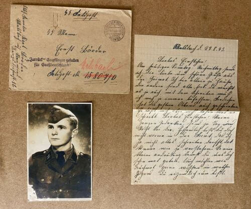 "WW2 WAFFEN SS SOLDIER PHOTOGRAPH IN UNIFORM & LETTER ""DIED FOR GREATER GERMANY."""