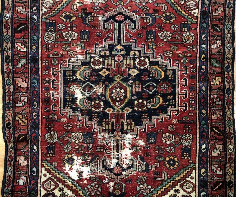 Terrific Tribal - 1940s Antique Oriental Rug - Nomadic Carpet - 3.10 X 6 Ft.