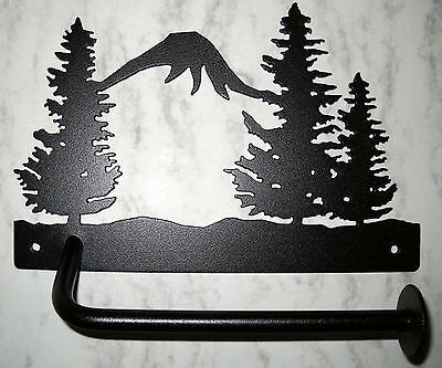 TREES MOUNTAIN TOILET PAPER HOLDER NORTHWOODS RUSTIC LODGE HUNTING CABIN -