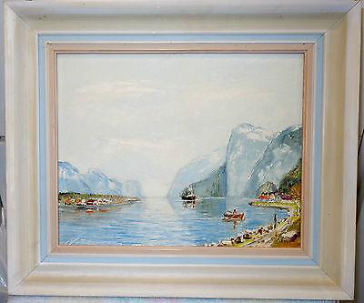 Ölbild,Heinz Mindermann,Fjord,Hardanger,Norwegen,mit Rahmen