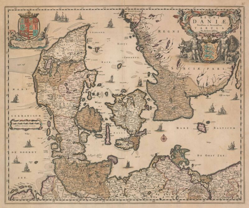 1680 Visscher Map of Denmark