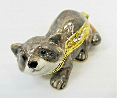 Raccoon Mini Jeweled Trinket Box Wildlife Collectibles Home Decor Wildlife Trinket Boxes