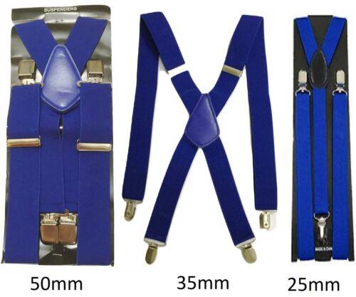 Royal Blue Men Ladies Braces Elastic Durable Strong 25mm 35mm 50mm Wide Trousers