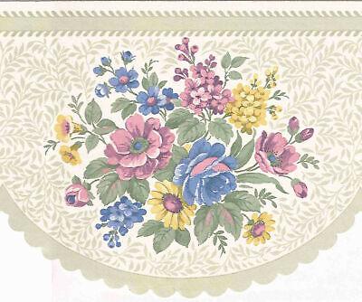 ROUND LASER CUT GREEN FLOWER WALLPAPER BORDER B0653