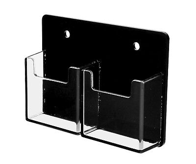 New 2 Pocket Vertical Business Card Holder Wall Mount Black Clear Acrilyc