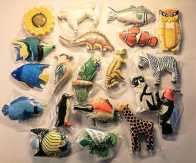 KÜHLSCHRANK - MAGNET HOLZ - Tiermotive - Fisch,Eule,Katze,Frosch,Vögel,Pinguin