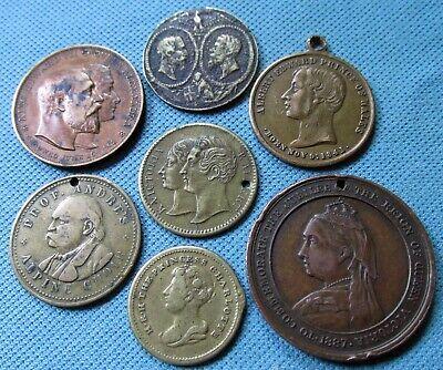 Lot of 7 Victorian Edwardian Medals Tokens -Tasmania Jubilee Charlotte Decem etc