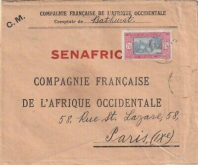 1934 Senegal cover sent from Bathurst to Paris