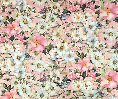 Vintage Embroidered Crinkled Cotton Fabric; Floral Paisley Pattern; Light Pink Color; 76 x 48 Previously Owned 2 Yards