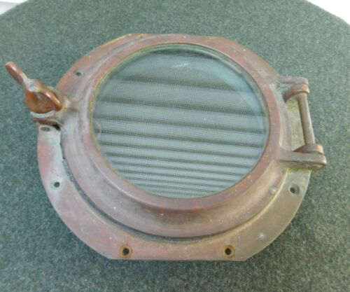 VINTAGE MARITIME NAUTICAL SHIP OR BOAT PORTHOLE WITH INNER SCREEN