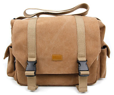 Large Vintage Tan Canvas Carry Case Bag for Fujifilm X-T2 / X-T20 / X-E3 Camera