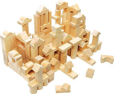 Holzbausteine im Beutel 100 Naturbausteine Bauklötze Holzspielzeug ab 3 Jahre