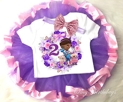 Doc McStuffins 2nd Second 2 Year Old Baby birthday Tutu Shirt Headband Outfit](2 Year Old Birthday Tutu Outfit)