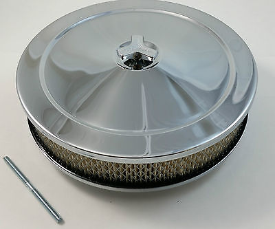 "Chrome 10 x 2 10"" x 2"" Air Cleaner SBC Chevy Ford Fits Holley Edelborck 4 Brl V8"