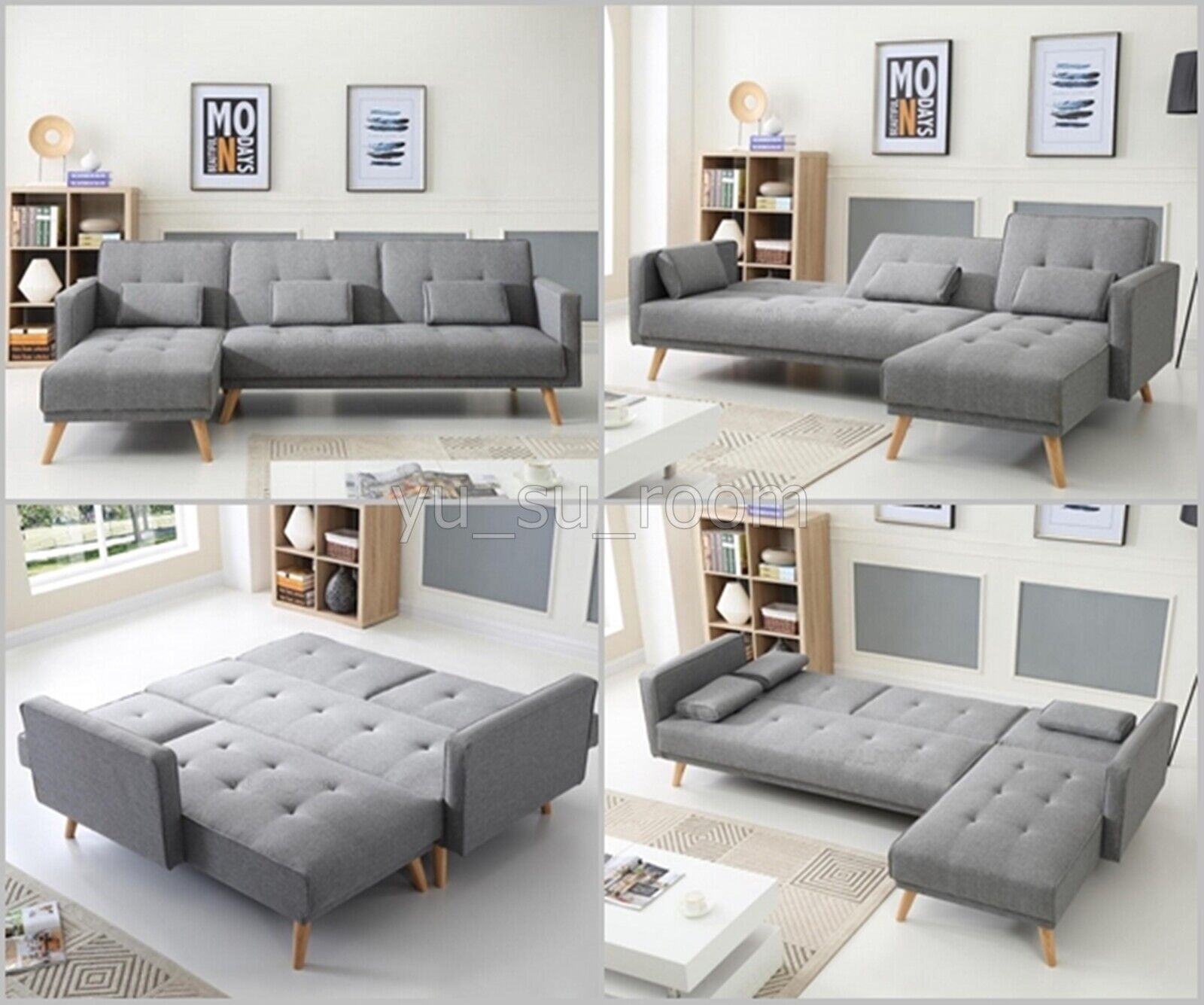 Details about Large Corner Sofa Bed 4 Seater Grey Fabric Settee L Shaped  Couch Chaise Recliner