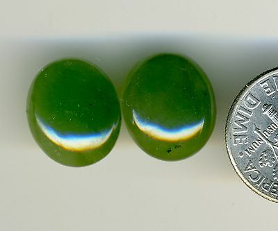CANADIAN NEPHRITE JADE One PAIR 12x14mm Oval shaped Cabochons