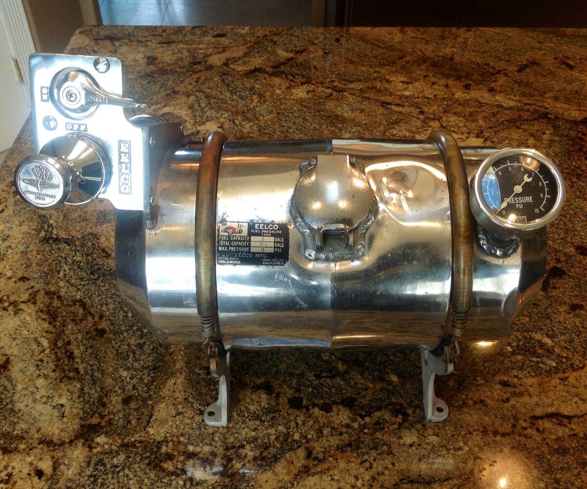 Vintage 1950's Eelco Fuel Tank Pressure Pump Stewart Warner Pressure Gauge Rod