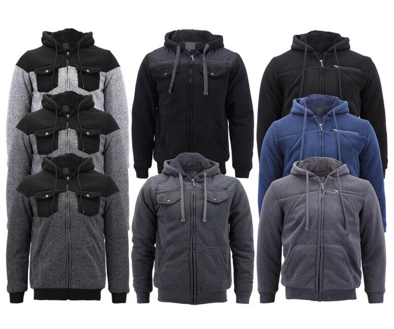 Boy's Soft Sherpa Lined Juniors Youth Fleece Sweater Kids Zipper Hoodie Jacket